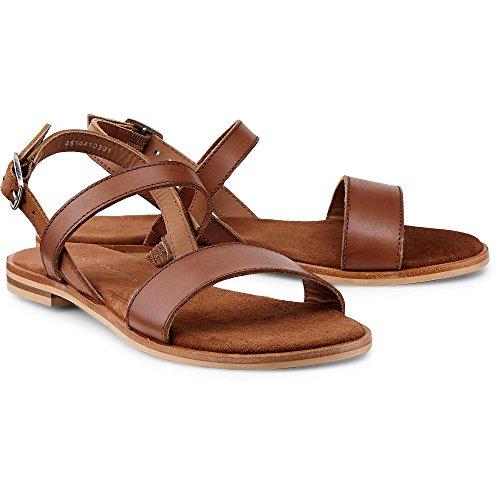 Cox Damen Damen Trend-Sandale aus Leder, Schlichte Flats in Braun mit verstellbaren Fersenriemchen und Leichter Laufsohle Braun Glattleder 38