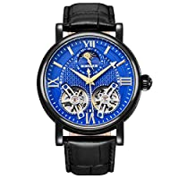 BINSSAW メンズ トゥールビヨン 自動機械式腕時計 ラグジュアリー ブランド レザー ファッション カジュアル ステンレススチール スポーツウォッチ 男性用 ブルーブラック