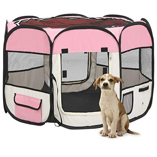 Tidyard Animali Box Portatile Pieghevole Cucce gabbiette recinzioni per Cuccioli, Cane, Gatti, Coniglio all'Interno e Esterno Tenda Box, con Borsa Trasporto 90x90x58 cm Rosa