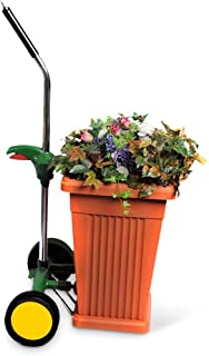 Garden Pot Mover with Adjustable Handle - Heavy Duty Plant Dolly Caddy with Sturdy Flat-Free Wheels and Gripping Suction Cups, Max 165 Lbs Weight Capacity