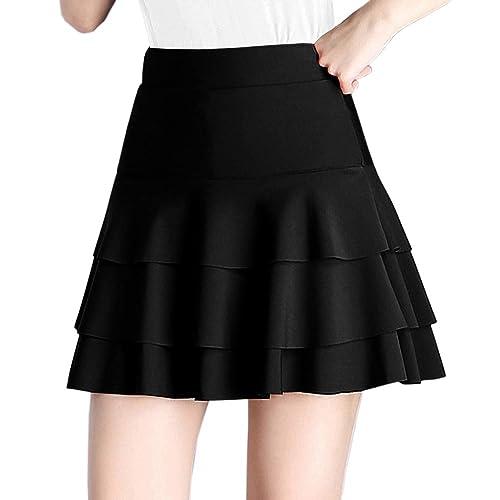 981493aebf7 Afibi Stretchy Flared Ruffle Layered Mini Skater Skirts for Women