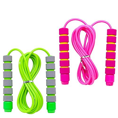 Sprungseil Kinder 6 Jahre, Verstellbare Kunststoff Seilspringen 240CM, Geeignet für 3-12 Jahre Jungen und Mädchen Sport Springseil (Rosa + grün)