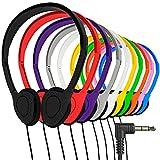 Maeline Bulk On-Ear Headphones with 3.5 mm Headphone Plug - 10 Pack - Multi