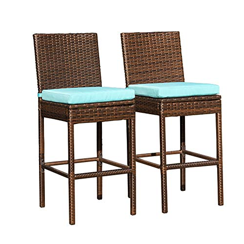 Sundale Outdoor Bar Stools Set of 2, 2 Piece Woven Wicker Bar Stools, Patio Bar Chairs with Cushion Blue, All-Weather Outdoor Patio Furniture - Aluminum, Brown