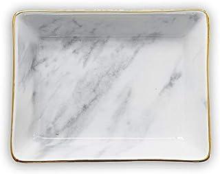 Binoster Marbre céramique Plateau à Bijoux Anneau Porte Anneau Ring Organizer avec Cadeau de Pendaison de crémaillère (Gre...