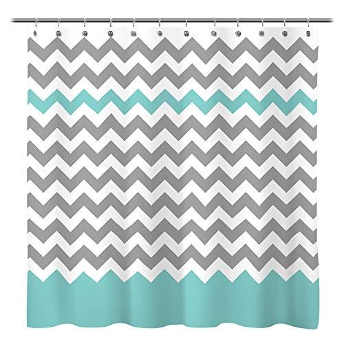 Sunlit Zigzag Gray/Aruba Chevron Fabric Shower Curtain, Geometric Zig Zag Pattern Lines and Contemporary Stripes Futuristic Print Nordic Design Fabric Bathroom Decor