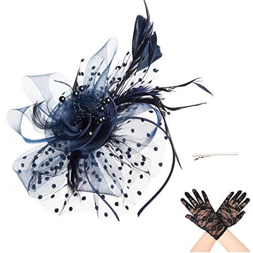 Fascinator Blume Netzmütze Feder Mesh Netz Schleier Tea Party Derby Hut mit Clip und Haarband für Frauen und Handschuhe (A6-Navy)