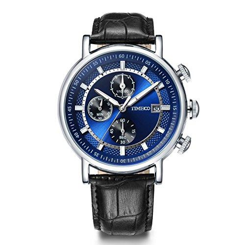 Time100 Reloj Cuarzo para Hombre de Deporte Moderno de número Romano con Diamante Correa de Piel