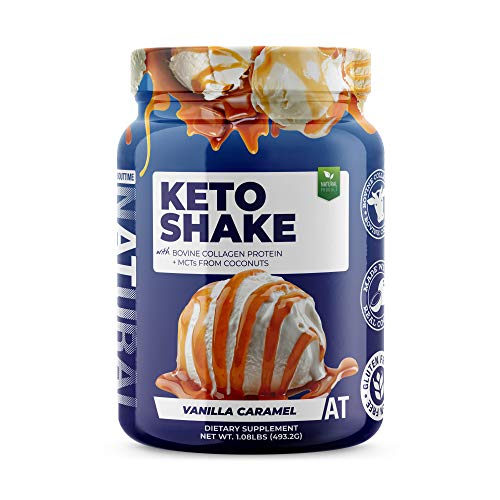 About Time Keto Shake with Bovine Collagen Protein + MCTs from Coconuts - 19g Fat, 10g Protein, 5g Net Carbs - Vanilla Caramel, 1lb Jar