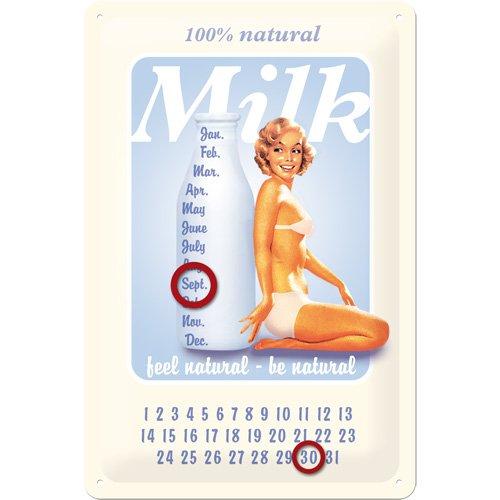 Nostalgic-Art 20234 Calendrier sur Plaque en métal Pinup Lait [en Anglais] 20 x 30 cm