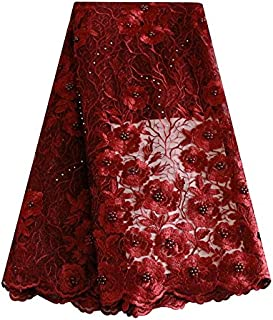 Latest lace Style Grey African lace Fabric Nigerian Bridal mesh French lace 2018 (Wine)