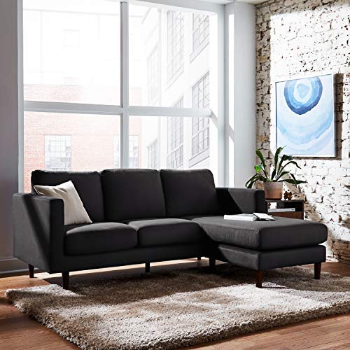 """Amazon Brand – Rivet Revolve Modern Upholstered Sofa with Reversible Sectional Chaise, 80""""W, Storm Grey"""