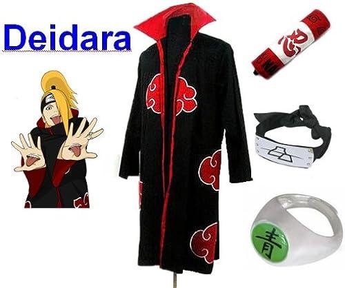 Centro comercial profesional integrado en línea. SUNKEE Traje Traje Traje de Cosplay para cosplay Naruto Akatsuki Deidara Ninja Set- Capa (L Tamaño 169cm-176cm)+caja de lápiz+Deidara diadema+anillo+zapatos  calidad fantástica