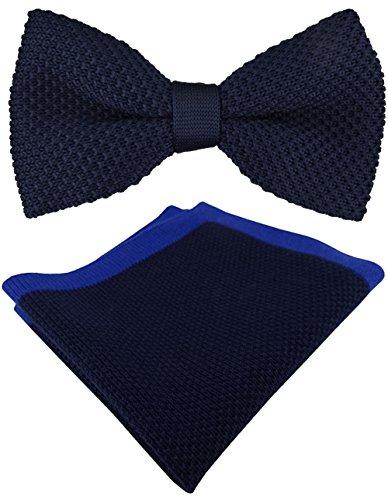 TigerTie hochwertige Strickfliege + Einstecktuch in marine dunkelblau royal Uni + Aufbewahrungsbox