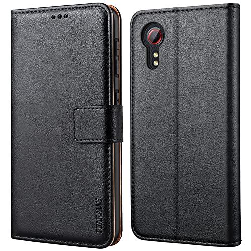 Peakally Handyhülle für Samsung Galaxy Xcover 5 Hülle, Premium Leder Flip Hülle Tasche Schutzhülle Brieftasche Klapphülle [Kartenfächer] [Standfunktion] [Magnet] für Samsung Xcover 5-Schwarz