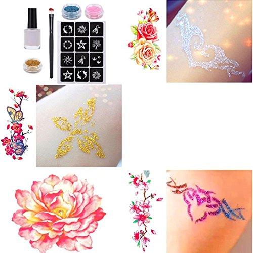 hunpta adhesivo de purpurina polvo temporal tatuaje cuerpo pintura Kit Pinceles pegamento plantillas