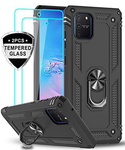 LeYi für Samsung Galaxy S10 Lite/A91 Hülle mit Panzerglas Schutzfolie(2 Stück),360 Grad Ring Halter Handy Hüllen Cover Magnetische Bumper Schutzhülle für Case Samsung Galaxy A91 Handyhülle Schwarz