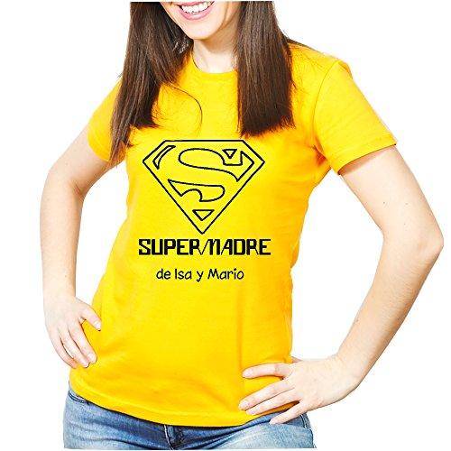Calledelregalo Regalo para Madres Personalizable: Camiseta 'SuperMadre' Personalizada con el Nombre o Nombres Que tú Quieras (Amarilla)