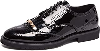 2019 Mens New Lace-up Flats Men's Casual Personality Stitching Carved Lace-up Patent Leather Brogue Shoes Fashion Oxford