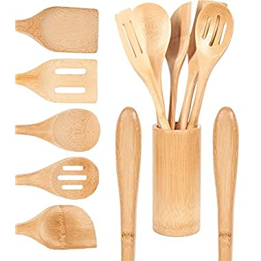 Organic Bamboo Cooking Utensils Set Wide Handle, 6 Piece Set, Wooden Spoons Spatula, Organizer, High Heat Resistant Non Stick, Wood Spoon For Serving Eco-Friendly Biodegradable, Kitchen Gift Idea