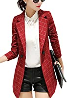 Womens Vintage Check Plaid Long Sleeve Casual Long Jacket Blazer, US 0-2,M, Red