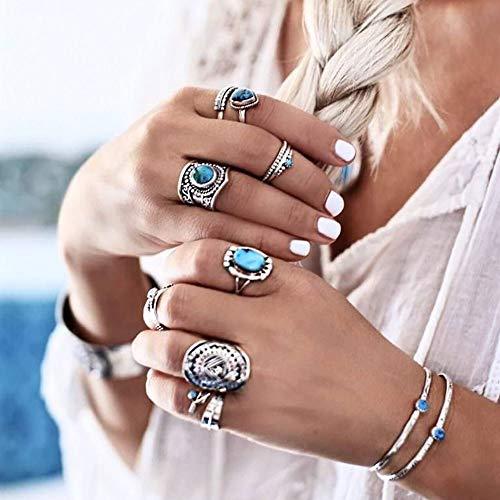 Edary - Set di anelli per nocche con fiore intagliato, in argento e turchese, per donne e ragazze (8 pezzi)