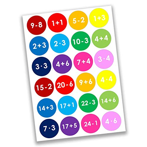 Papierdrachen 24 Pegatinas de números para Calendario de Adviento Motivos matemáticos - de Colores No 8 - para Crear y Decorar
