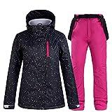 Schneeanzug Damen Winter Ski Jacke Und Hose Thermal Windundurchlässige wasserdichte Hose Outdoor-Sport-Berg Snowboard-Jacke Set,Rose red,XL