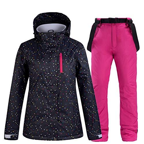 Schneeanzug Damen Winter Ski Jacke Und Hose Thermal Windundurchlässige wasserdichte Hose Outdoor-Sport-Berg Snowboard-Jacke Set,Rose red,M