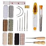 KHHGTYFYTFTY Kit de reparación de Cuero Bordado Kit de Rosca a la Costura Herramientas de Bricolaje de Cinta Accesorios de Costura con 29pcs Medida