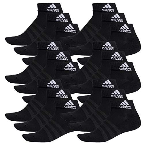 adidas 18 Paar Performance Sneaker/Quarter Socken Unisex Kurzsocke, Farbe:Black, Socken & Strümpfe:43-45