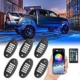 JDKC- Luces de Neón para Coches, Kit de Luz Impermeable para Coche, Luces de Roca LED RGB, Sincronización de Música, con Control RF/App, para Camiones, Vehículos Todo Terreno (Color : 6PCS)