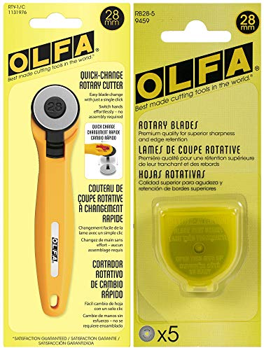 OLFA Rotary Fabric Cutter 28MM with 5 Blade Refill For Quilting, Sewing, and Crafts
