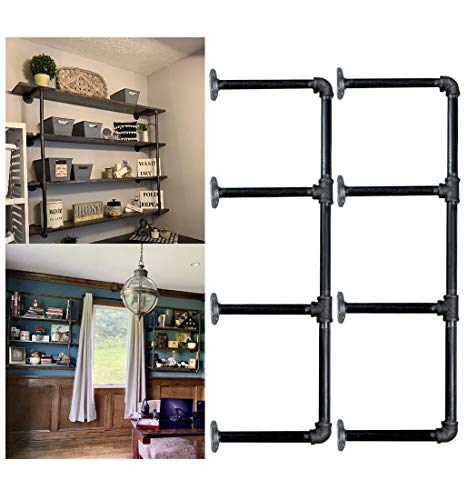 Industrial Retro Wall Mount iron Pipe Shelf,DIY Open Bookshelf,Hung Bracket, DIY Storage Shelving,Home Improvement…