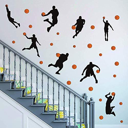 Acuarela Baloncesto Pared Adhesivos Deportivos Jugador Pared Pegatinas Pelar y Pegatinas Arte de la Pared para Niños Adolescentes Sala de estar Dormitorio Decoración