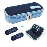 Apollowalker Trousse Pochette Housse Isotherme Sac pour Diabétique Avec Poche de Gel Chaud/Froid (Bleu marine)