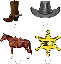 Novelty Wild West Cowboy Mix 12 Edible Stand up wafer paper cake toppers (5 - 10 BUSINESS DAYS DELIVERY FROM UK)