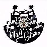 xcvbxcvb Saat Horloge (Saat Horloge) Murale Reloj de Pared salón de uñas Reloj de Pared 3D diseño Arte Estudio de manicura Disco de Vinilo Reloj Belleza Logo decoración 12'
