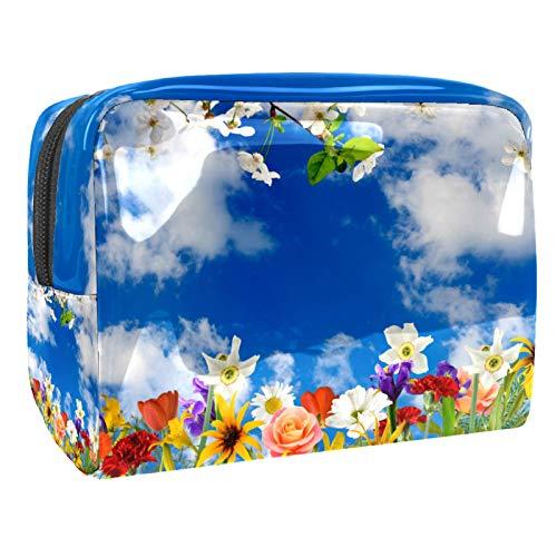 Bolsas de Maquillaje Estuche multifunción para Organizador de Bolsas de cosméticos de Viaje portátil Imagen de Hermosas Flores en el jardín Primer. con Neceser con Cremallera para Mujer