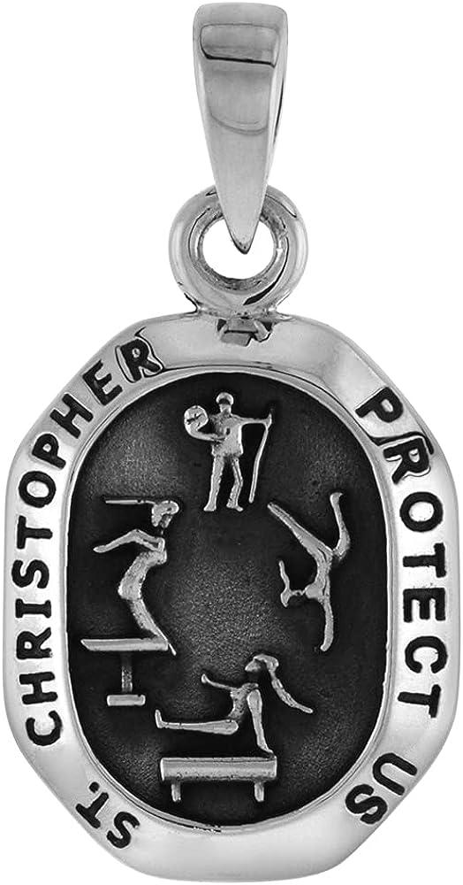 Miami Mall Sterling Fashionable Silver Saint Christopher Charm 16 i Gymnastics for 1