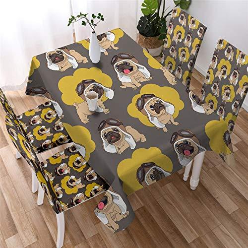 XXDD Mantel de Fiesta para Cachorros, Mantel de Bulldog, Impermeable, Mantel Rectangular de Dibujos Animados, Mantel Colorido de Animales A3 140x160cm