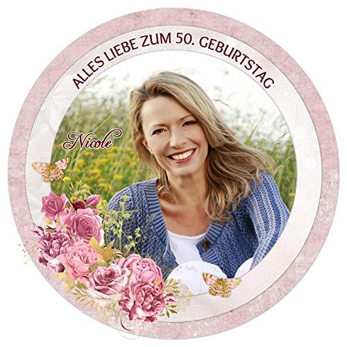Tortenaufleger Tortenbild Geburtstag Muttertag Blume sofort frei gestalten den Wunschtext und Foto essbar Ø 20cm 2177