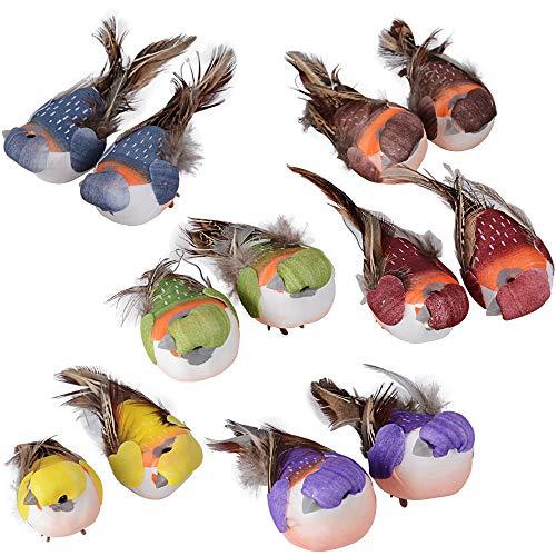 MEJOSER 12 pcs Pájaros Decorativos Plumas Coloridos de Espuma Pájaros Artificiales Adorno...