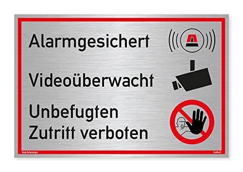 Schild Alarmgesichert Videoüberwacht | Unbefugten Zutritt verboten | stabiles Alu Schild mit UV-Schutz 30x20 cm | Silber gebürstet edle Optik | Alarmanlage Videoüberwachung Kameraüberwacht | Dreifke®