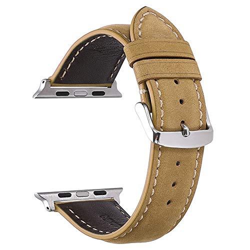 Yierya Compatible con para Apple Watch Correa de 38mm 40mm 42mm 44mm, Correa de Reloj de Repuesto de Cuero Compatible con para iWatch Serie 1/2/3/4 (38MM 40MM, Light Brown)