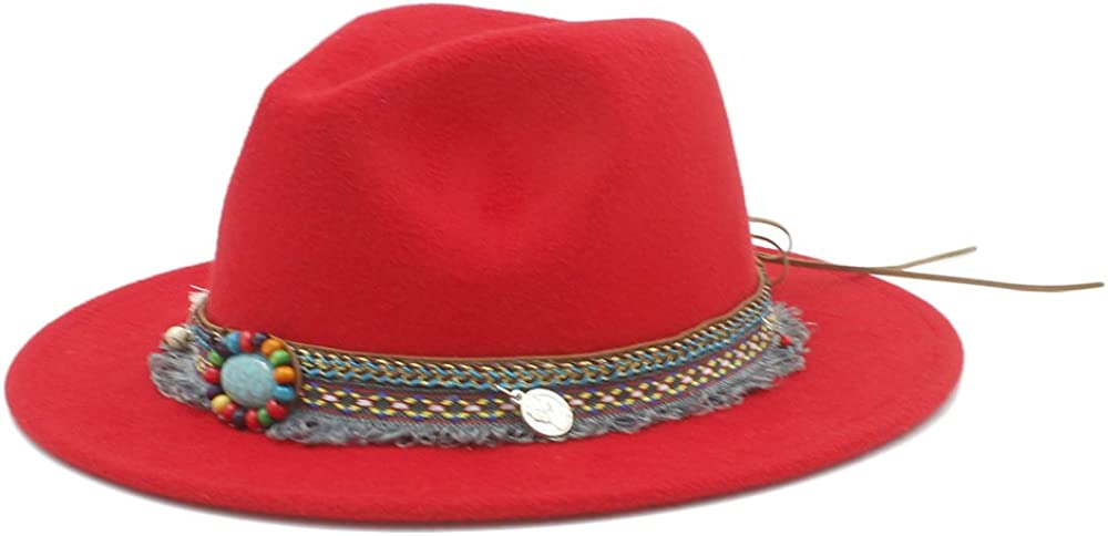 TongLing Wool Women Wide Brim Hat Outback Fedora Hat with Tassel Bohemia Ribbon Jazz Church Godfather Sombrero Caps Style