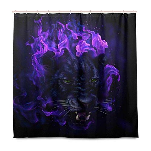 Yibaihe Duschvorhänge Badezimmer Gardinen inkl. 12 Haken Panther Kopf in Flammen bedrucktes Polyestergewebe schimmelresistent wasserdicht für Badezimmer Badewannen