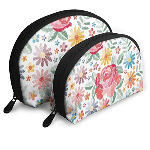 XCNGG Schöne bunte Blumen sind natürlich niedlich angepasste tragbare Taschen Clutch Pouch Aufbewahrungstasche Kosmetiktasche Geldbörse Reiseaufbewahrungstasche Shell Shape One Big und One Small für F
