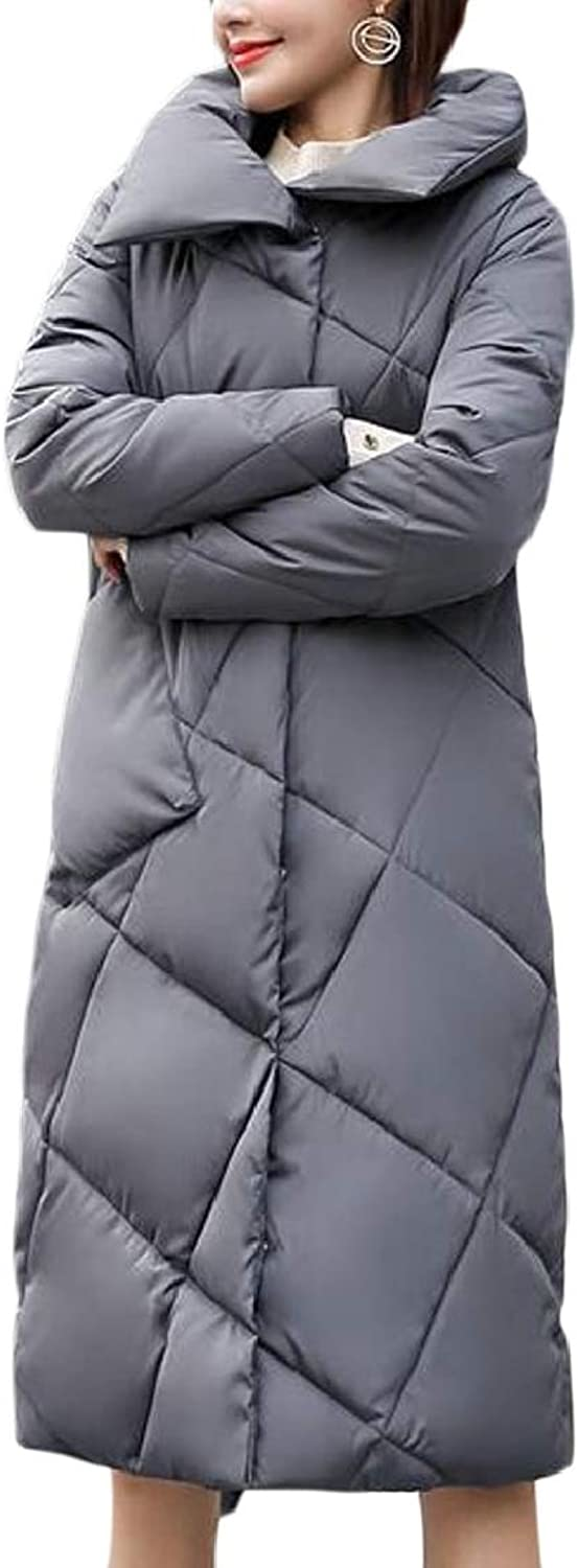 QDCACA Women Warm Solid Padded Down Quilted Jacket Lightweight Puffer Coat