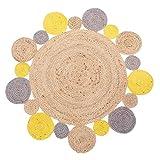 Alfombra exótica Redonda Trenzada Amarilla de Yute de...